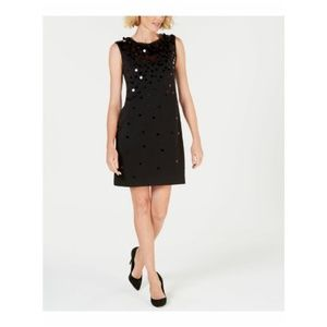 Alfani Womens Dress Black Cocktail Sequin Pailette